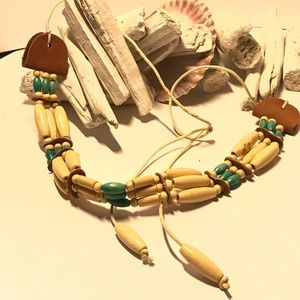 Beautiful Wooden and Leather Choker Necklace